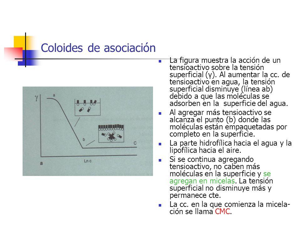 Coloides de asociación La figura muestra la acción de un tensioactivo sobre la tensión superficial (γ). Al aumentar la cc. de tensioactivo en agua, la