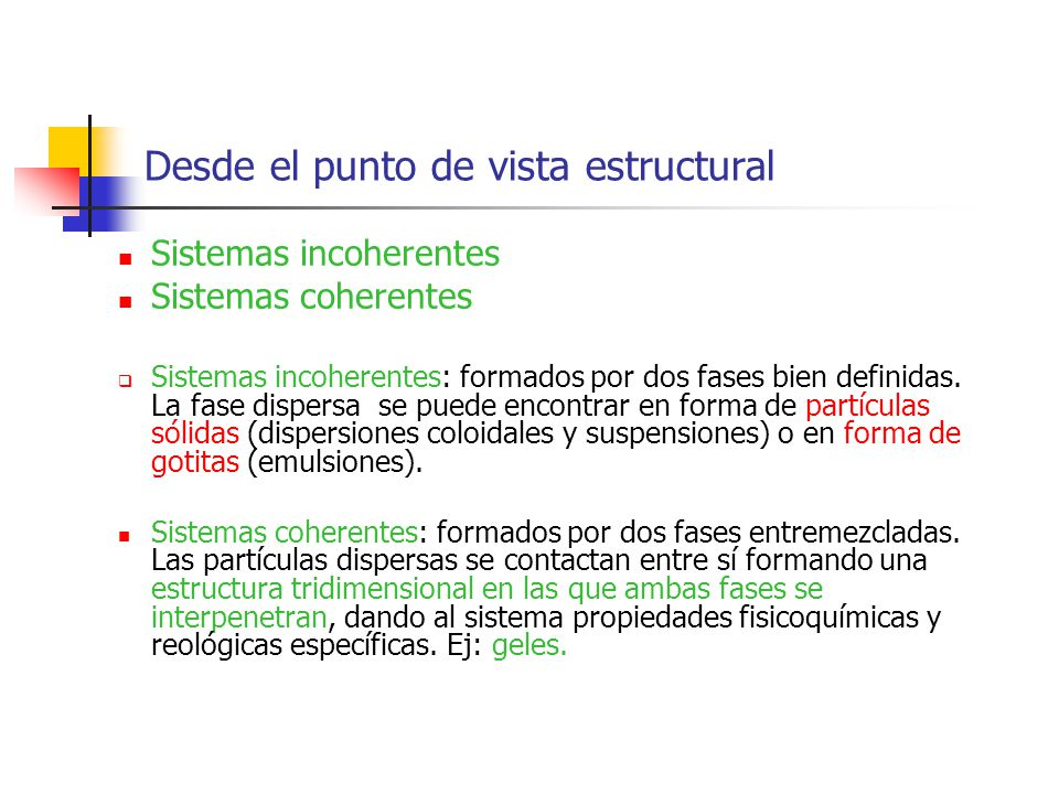 Desde el punto de vista estructural Sistemas incoherentes Sistemas coherentes Sistemas incoherentes: formados por dos fases bien definidas. La fase di