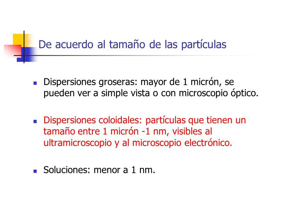 De acuerdo al tamaño de las partículas Dispersiones groseras: mayor de 1 micrón, se pueden ver a simple vista o con microscopio óptico. Dispersiones c