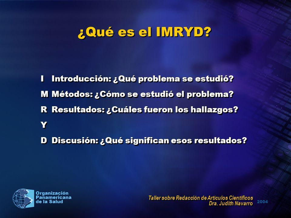 2004 Organización Panamericana de la Salud ¿Qué es el IMRYD? IIntroducción: ¿Qué problema se estudió? MMétodos: ¿Cómo se estudió el problema? RResulta