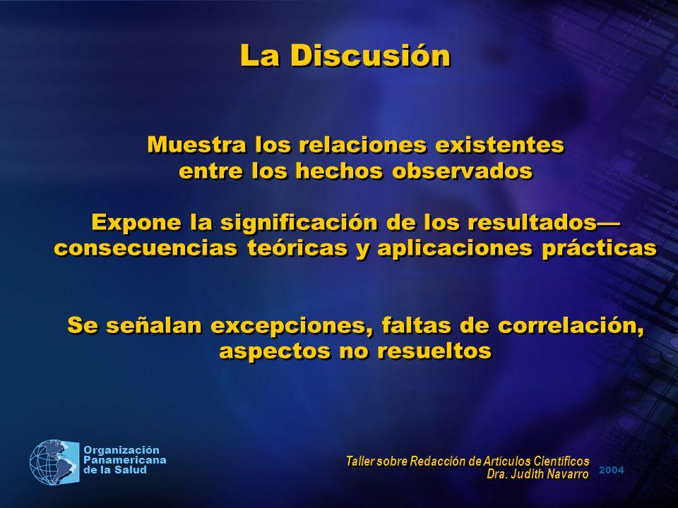 2004 Organización Panamericana de la Salud La Discusión Muestra los relaciones existentes entre los hechos observados Expone la significación de los r