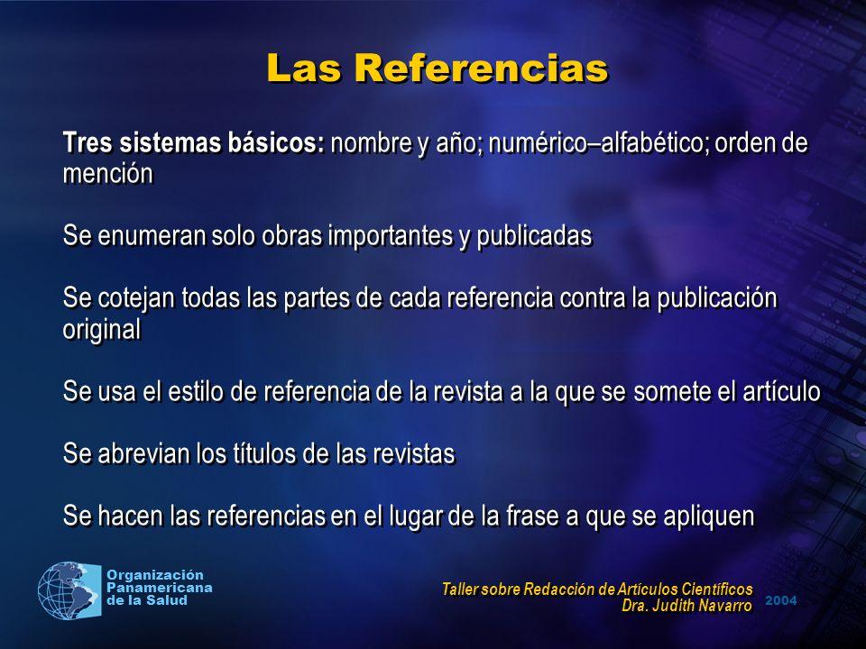 2004 Organización Panamericana de la Salud Las Referencias Tres sistemas básicos: nombre y año; numérico–alfabético; orden de mención Se enumeran solo