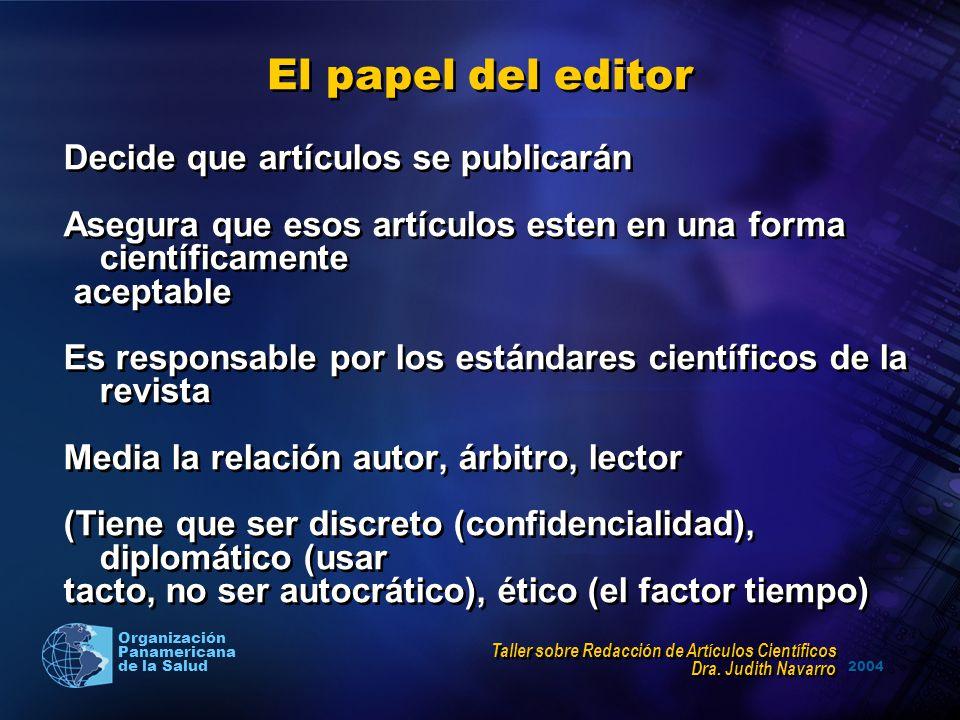2004 Organización Panamericana de la Salud El papel del editor Decide que artículos se publicarán Asegura que esos artículos esten en una forma cientí