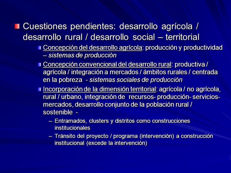 Cuestiones pendientes: desarrollo agrícola / desarrollo rural / desarrollo social – territorial Concepción del desarrollo agrícola: producción y produ