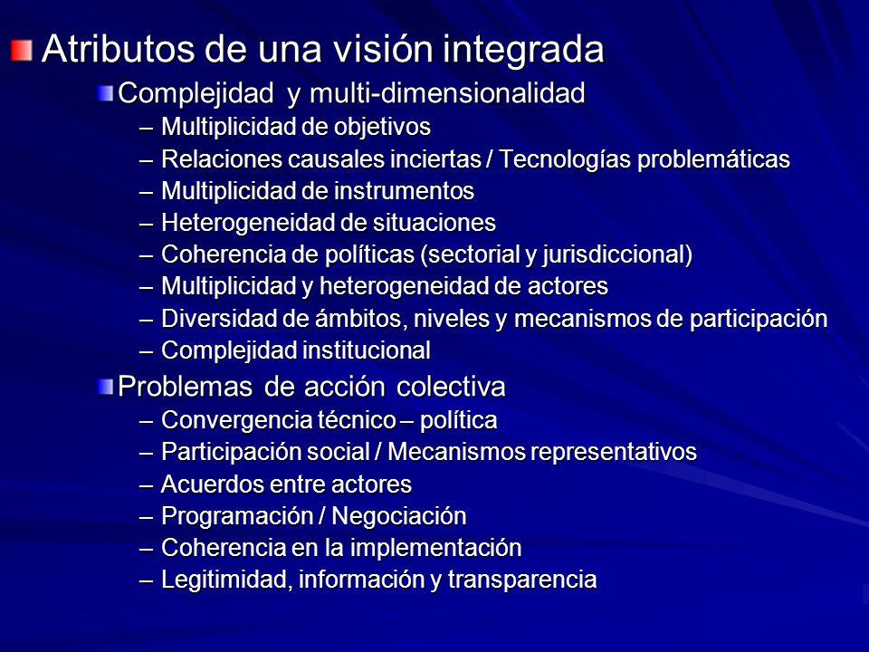 Atributos de una visión integrada Complejidad y multi-dimensionalidad –Multiplicidad de objetivos –Relaciones causales inciertas / Tecnologías problem