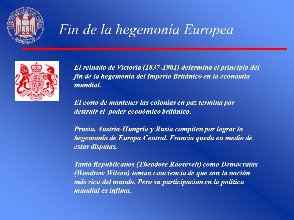 Fin de la hegemonía Europea El reinado de Victoria (1837-1901) determina el principio del fin de la hegemonía del Imperio Británico en la economía mun