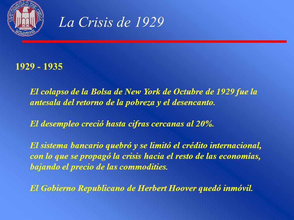 La Crisis de 1929 1929 - 1935 El colapso de la Bolsa de New York de Octubre de 1929 fue la antesala del retorno de la pobreza y el desencanto. El dese