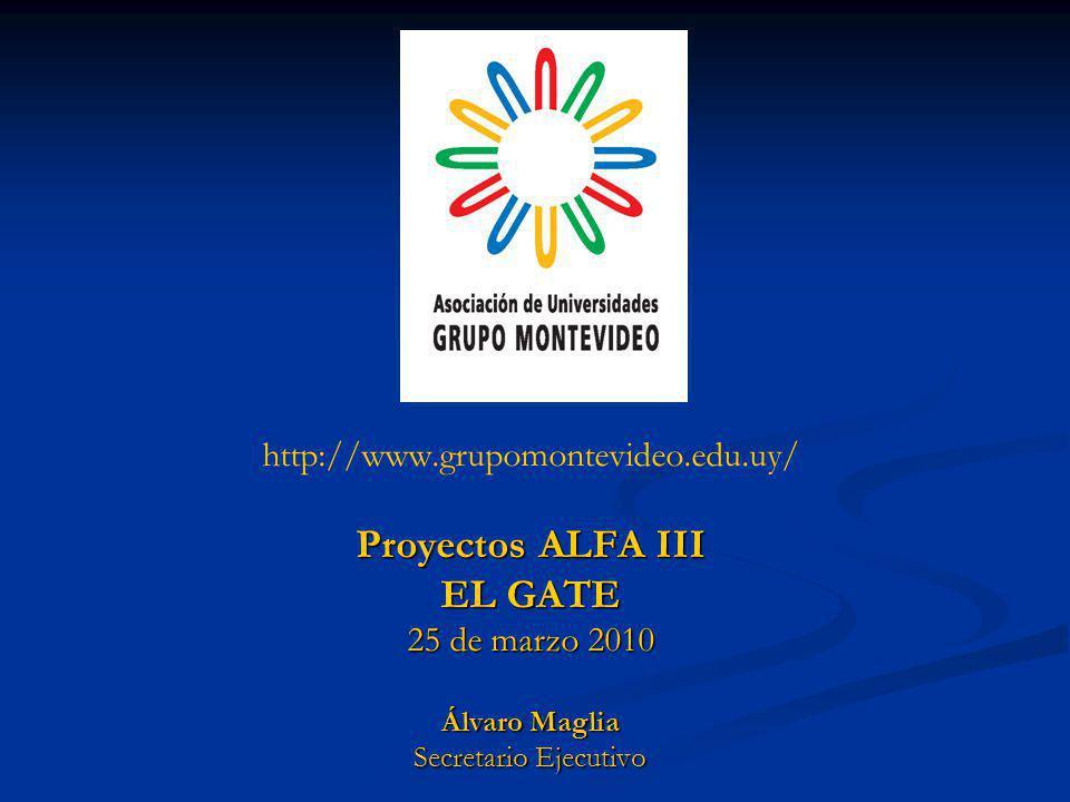 http://www.grupomontevideo.edu.uy/ Proyectos ALFA III EL GATE 25 de marzo 2010 Álvaro Maglia Secretario Ejecutivo
