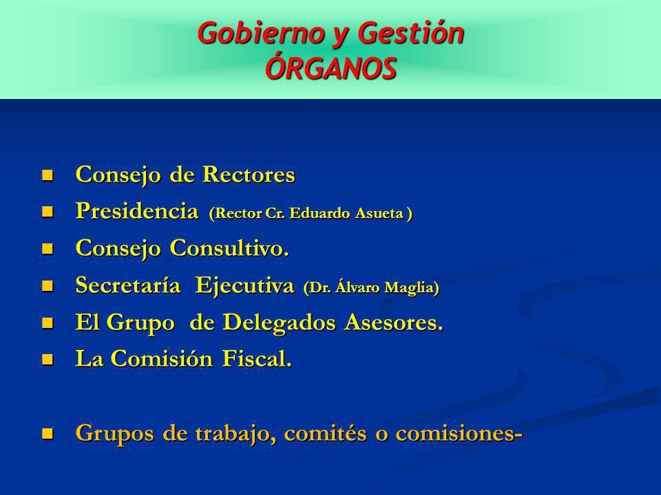 Gobierno y Gestión ÓRGANOS Consejo de Rectores Consejo de Rectores Presidencia (Rector Cr.