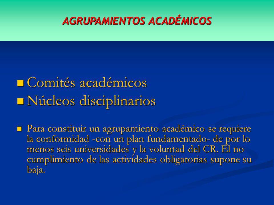 Comités académicos Comités académicos Núcleos disciplinarios Núcleos disciplinarios Para constituir un agrupamiento académico se requiere la conformidad -con un plan fundamentado- de por lo menos seis universidades y la voluntad del CR.