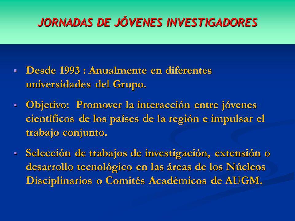 JORNADAS DE JÓVENES INVESTIGADORES Desde 1993 : Anualmente en diferentes universidades del Grupo.