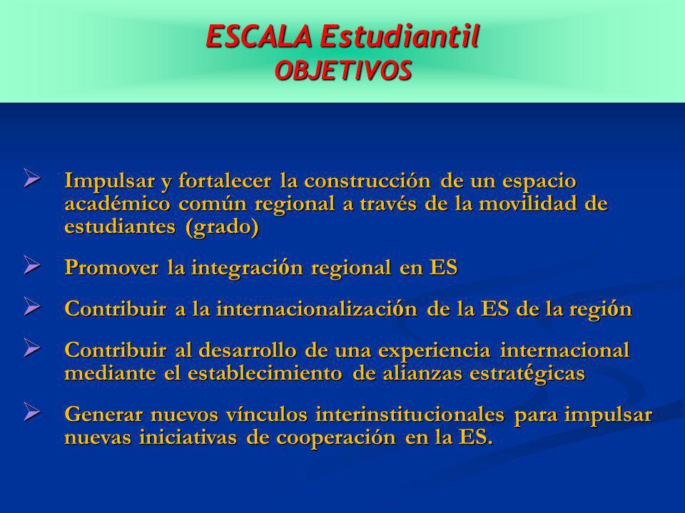 ESCALA Estudiantil OBJETIVOS Impulsar y fortalecer la construcción de un espacio académico común regional a través de la movilidad de estudiantes (grado) Impulsar y fortalecer la construcción de un espacio académico común regional a través de la movilidad de estudiantes (grado) Promover la integraci ó n regional en ES Promover la integraci ó n regional en ES Contribuir a la internacionalizaci ó n de la ES de la regi ó n Contribuir a la internacionalizaci ó n de la ES de la regi ó n Contribuir al desarrollo de una experiencia internacional mediante el establecimiento de alianzas estrat é gicas Contribuir al desarrollo de una experiencia internacional mediante el establecimiento de alianzas estrat é gicas Generar nuevos vínculos interinstitucionales para impulsar nuevas iniciativas de cooperación en la ES.