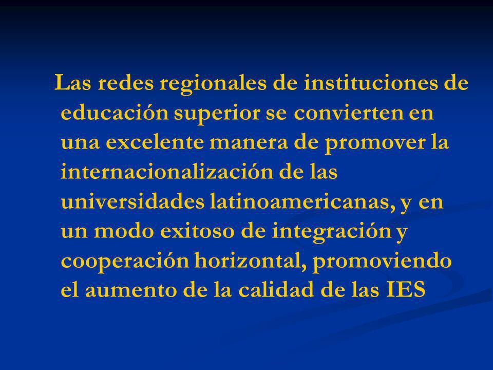 Las redes regionales de instituciones de educación superior se convierten en una excelente manera de promover la internacionalización de las universidades latinoamericanas, y en un modo exitoso de integración y cooperación horizontal, promoviendo el aumento de la calidad de las IES