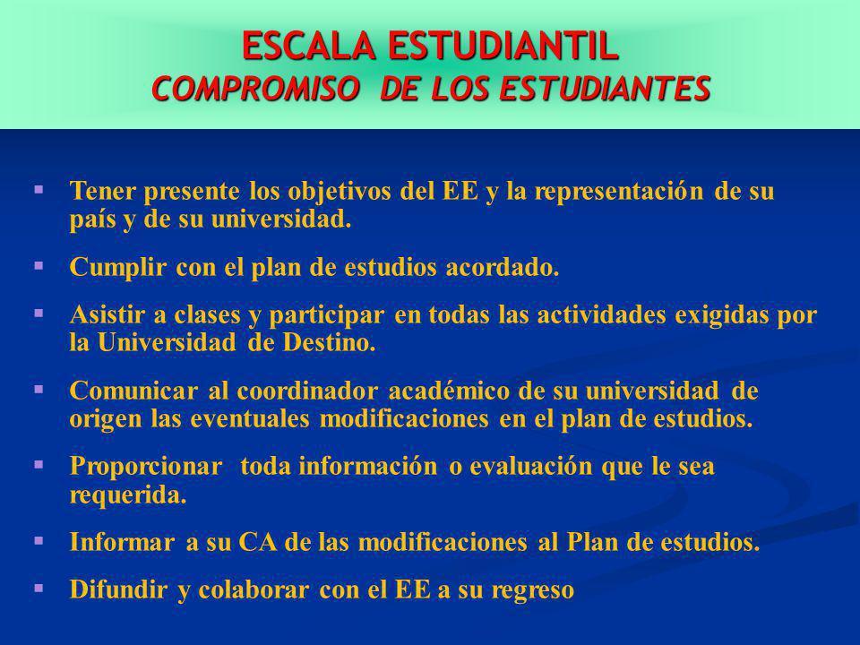 ESCALA ESTUDIANTIL COMPROMISO DE LOS ESTUDIANTES Tener presente los objetivos del EE y la representación de su país y de su universidad.
