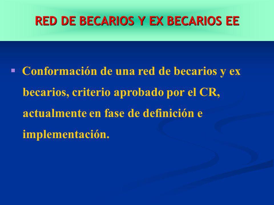 RED DE BECARIOS Y EX BECARIOS EE Conformación de una red de becarios y ex becarios, criterio aprobado por el CR, actualmente en fase de definición e implementación.
