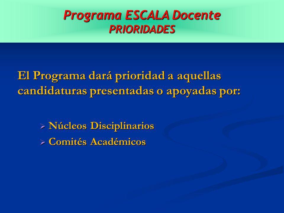 El Programa dará prioridad a aquellas candidaturas presentadas o apoyadas por: Núcleos Disciplinarios Núcleos Disciplinarios Comités Académicos Comités Académicos Programa ESCALA Docente PRIORIDADES