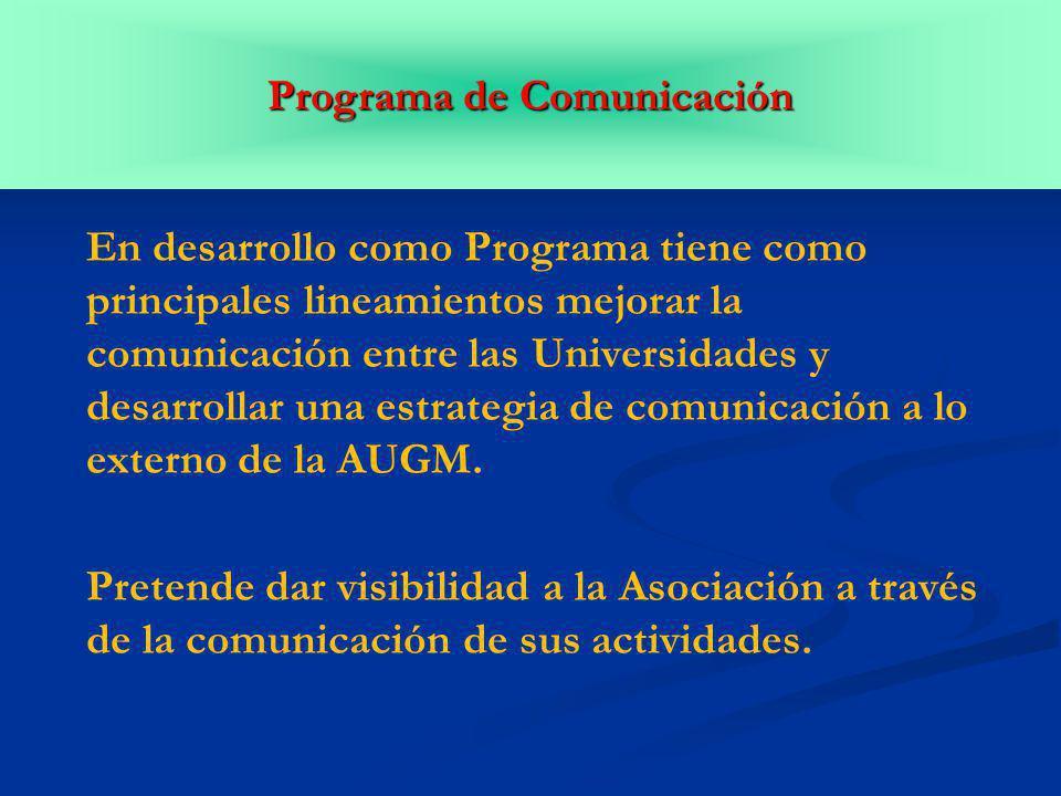En desarrollo como Programa tiene como principales lineamientos mejorar la comunicación entre las Universidades y desarrollar una estrategia de comunicación a lo externo de la AUGM.