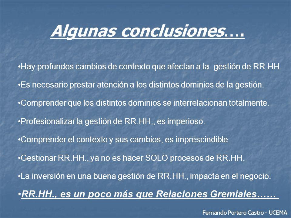 Algunas conclusiones …. Hay profundos cambios de contexto que afectan a la gestión de RR.HH. Es necesario prestar atención a los distintos dominios de