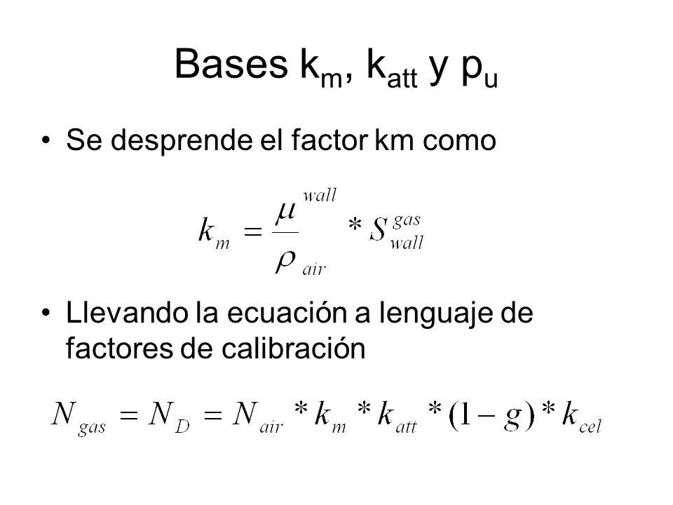 Bases k m, k att y p u Se desprende el factor km como Llevando la ecuación a lenguaje de factores de calibración