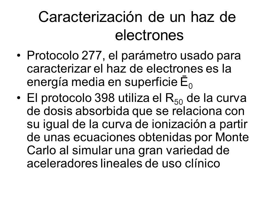 Caracterización de un haz de electrones Protocolo 277, el parámetro usado para caracterizar el haz de electrones es la energía media en superficie Ē 0 El protocolo 398 utiliza el R 50 de la curva de dosis absorbida que se relaciona con su igual de la curva de ionización a partir de unas ecuaciones obtenidas por Monte Carlo al simular una gran variedad de aceleradores lineales de uso clínico