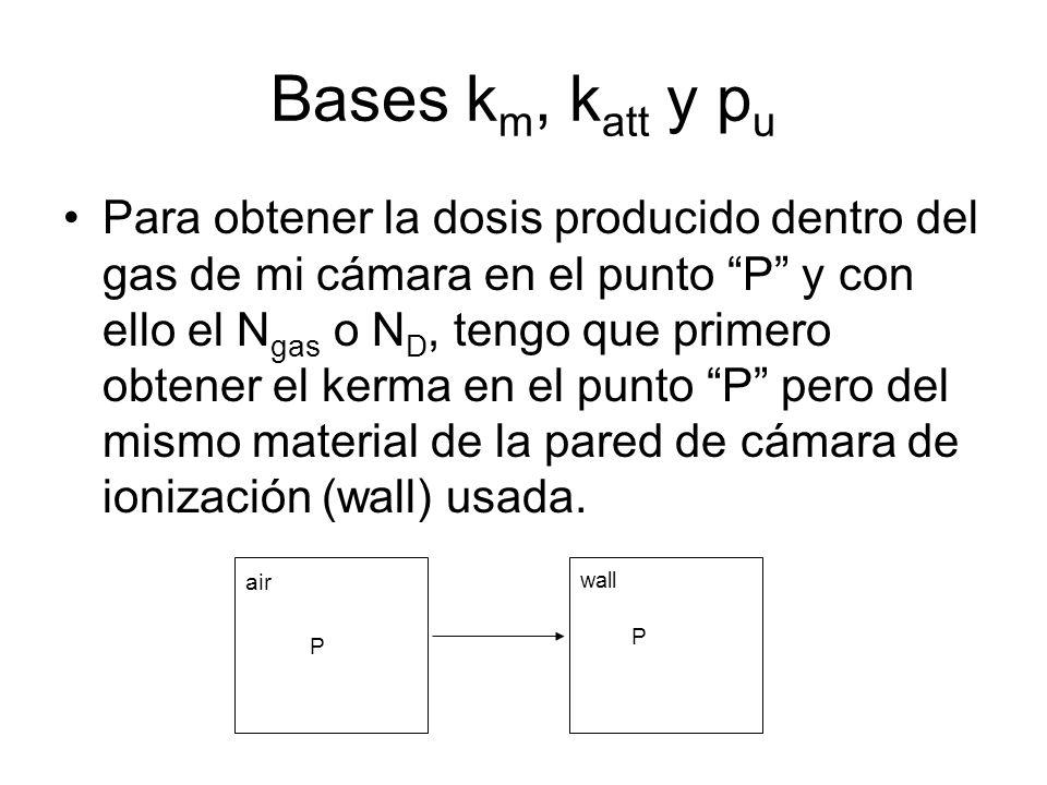 Bases k m, k att y p u Para obtener la dosis producido dentro del gas de mi cámara en el punto P y con ello el N gas o N D, tengo que primero obtener el kerma en el punto P pero del mismo material de la pared de cámara de ionización (wall) usada.