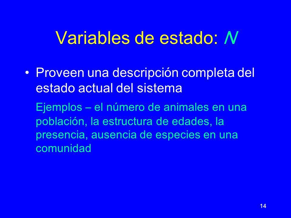 14 Variables de estado: N Proveen una descripción completa del estado actual del sistema Ejemplos – el número de animales en una población, la estructura de edades, la presencia, ausencia de especies en una comunidad