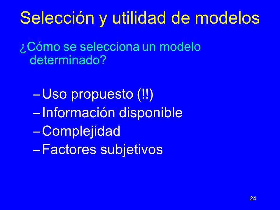 24 Selección y utilidad de modelos ¿Cómo se selecciona un modelo determinado.