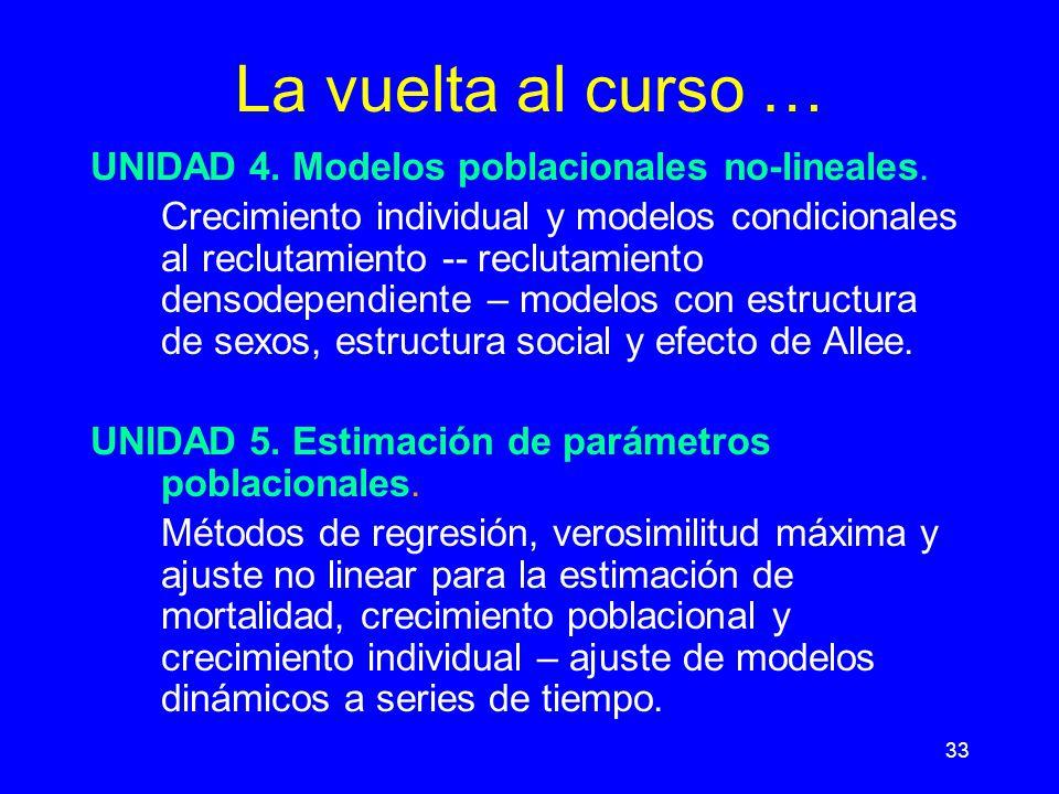33 La vuelta al curso … UNIDAD 4.Modelos poblacionales no-lineales.