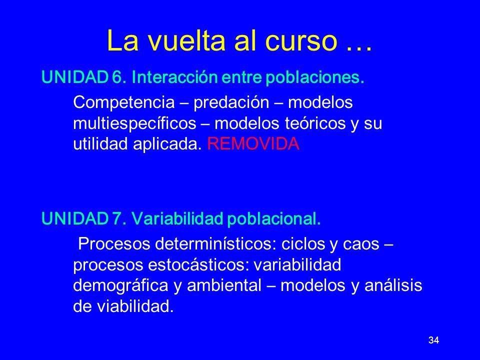 34 La vuelta al curso … UNIDAD 6.Interacción entre poblaciones.