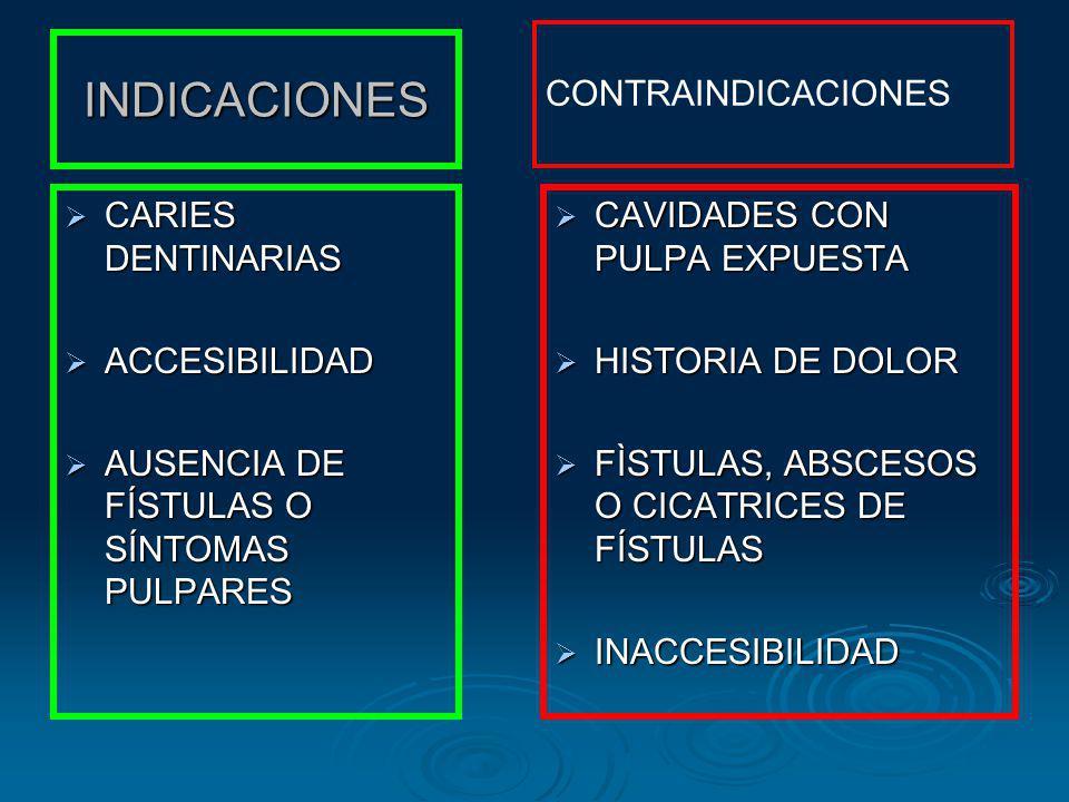 INDICACIONES CARIES DENTINARIAS CARIES DENTINARIAS ACCESIBILIDAD ACCESIBILIDAD AUSENCIA DE FÍSTULAS O SÍNTOMAS PULPARES AUSENCIA DE FÍSTULAS O SÍNTOMA