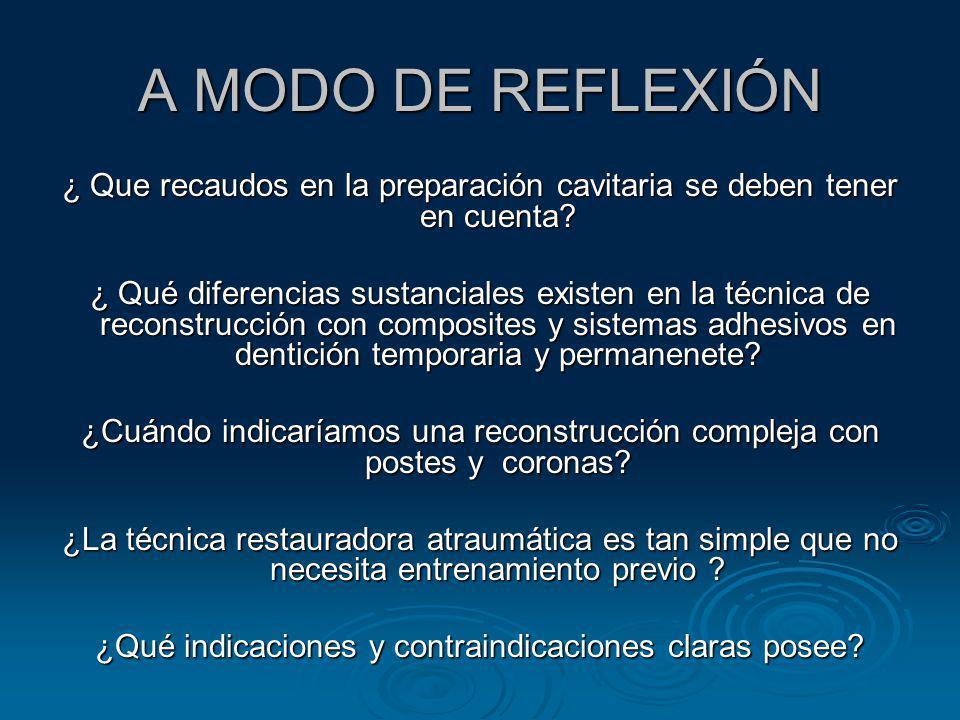 A MODO DE REFLEXIÓN ¿ Que recaudos en la preparación cavitaria se deben tener en cuenta? ¿ Qué diferencias sustanciales existen en la técnica de recon