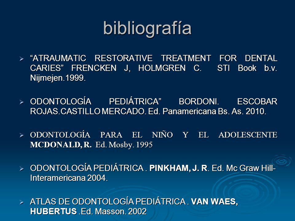 bibliografía ATRAUMATIC RESTORATIVE TREATMENT FOR DENTAL CARIES FRENCKEN J, HOLMGREN C. STI Book b.v. Nijmejen.1999. ATRAUMATIC RESTORATIVE TREATMENT