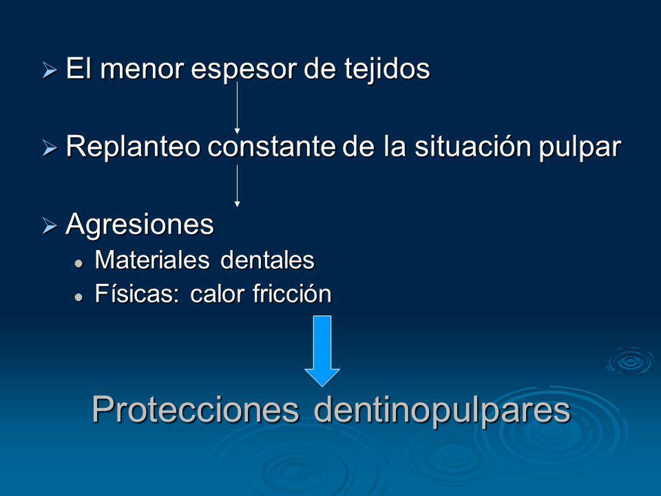 Protecciones dentinopulpares El menor espesor de tejidos El menor espesor de tejidos Replanteo constante de la situación pulpar Replanteo constante de