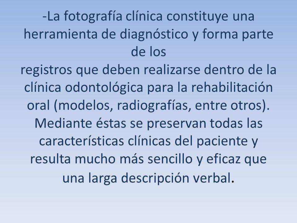 -La fotografía clínica constituye una herramienta de diagnóstico y forma parte de los registros que deben realizarse dentro de la clínica odontológica