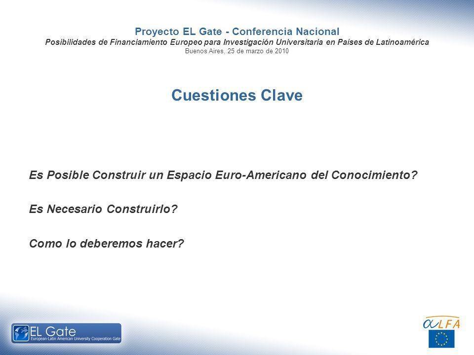 Proyecto EL Gate - Conferencia Nacional Posibilidades de Financiamiento Europeo para Investigación Universitaria en Países de Latinoamérica Buenos Aires, 25 de marzo de 2010 Cuestiones Clave Es Posible Construir un Espacio Euro-Americano del Conocimiento.