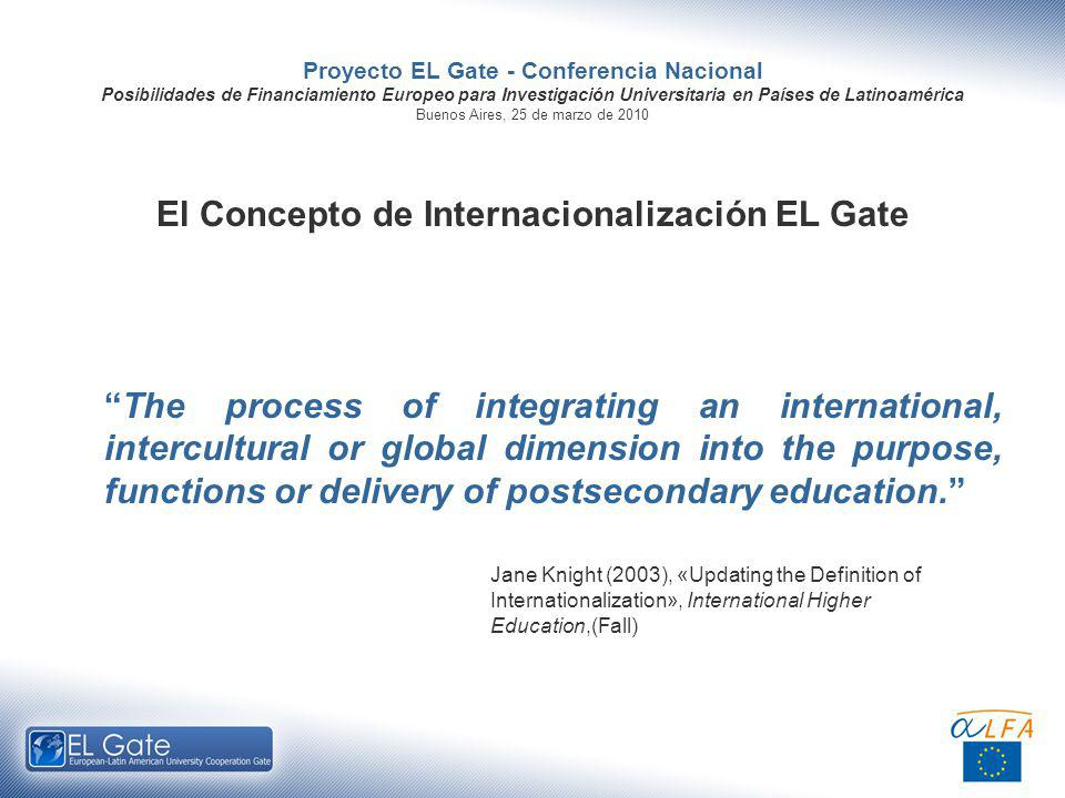 Proyecto EL Gate - Conferencia Nacional Posibilidades de Financiamiento Europeo para Investigación Universitaria en Países de Latinoamérica Buenos Aires, 25 de marzo de 2010 El Concepto de Internacionalización EL Gate The process of integrating an international, intercultural or global dimension into the purpose, functions or delivery of postsecondary education.
