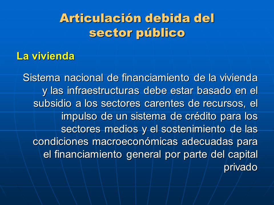 Articulación debida del sector público La vivienda Sistema nacional de financiamiento de la vivienda y las infraestructuras debe estar basado en el subsidio a los sectores carentes de recursos, el impulso de un sistema de crédito para los sectores medios y el sostenimiento de las condiciones macroeconómicas adecuadas para el financiamiento general por parte del capital privado