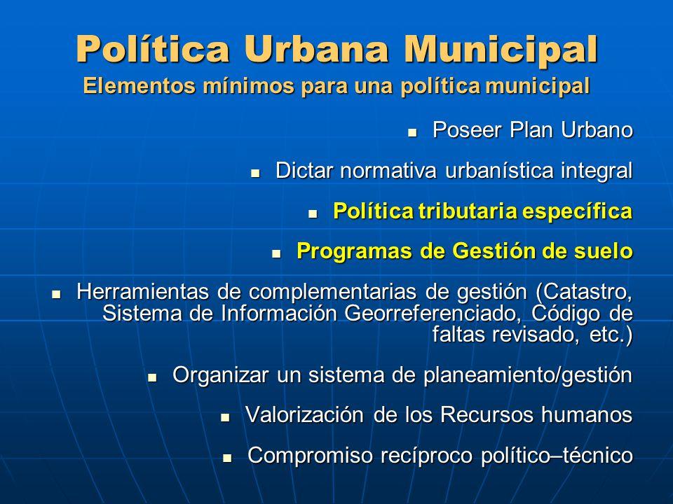 Política Urbana Municipal Elementos mínimos para una política municipal Poseer Plan Urbano Poseer Plan Urbano Dictar normativa urbanística integral Di