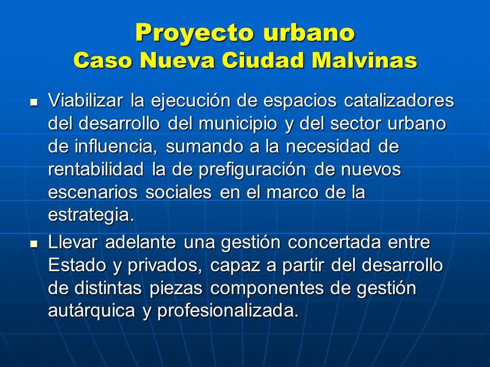 Proyecto urbano Caso Nueva Ciudad Malvinas Viabilizar la ejecución de espacios catalizadores del desarrollo del municipio y del sector urbano de influencia, sumando a la necesidad de rentabilidad la de prefiguración de nuevos escenarios sociales en el marco de la estrategia.