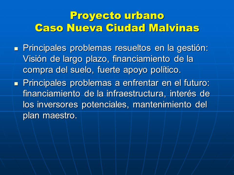 Proyecto urbano Caso Nueva Ciudad Malvinas Principales problemas resueltos en la gestión: Visión de largo plazo, financiamiento de la compra del suelo, fuerte apoyo político.