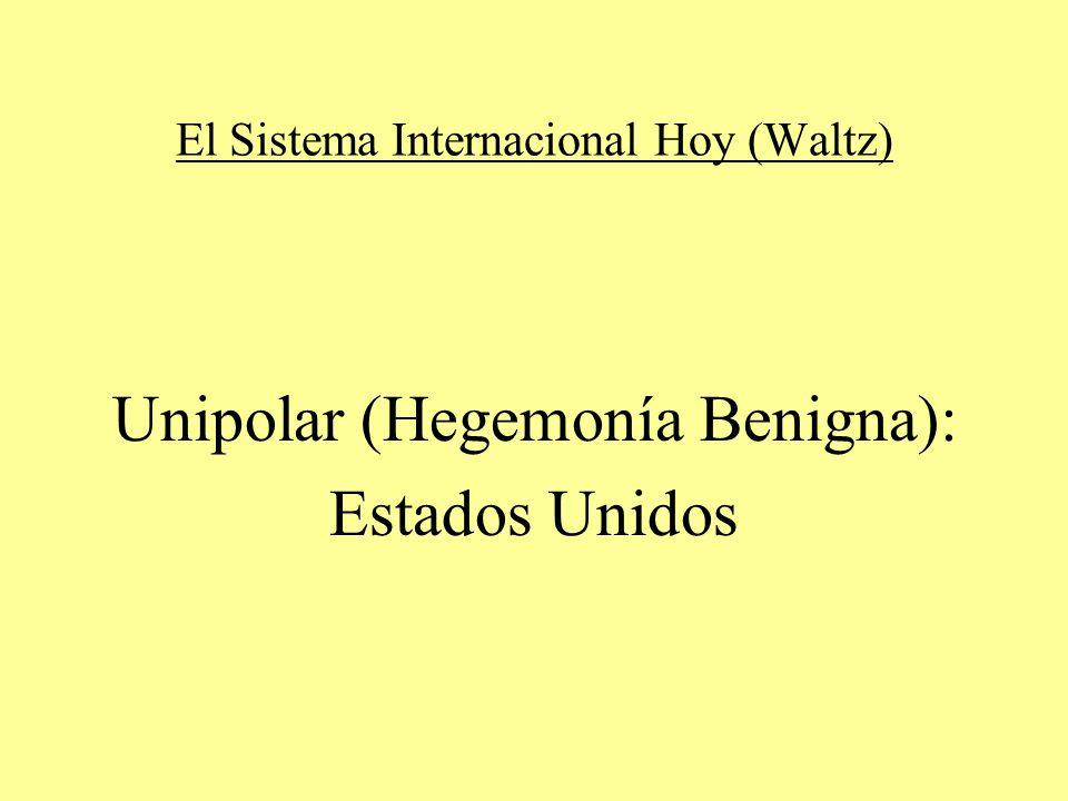 El Sistema Internacional Hoy (Waltz) Unipolar (Hegemonía Benigna): Estados Unidos