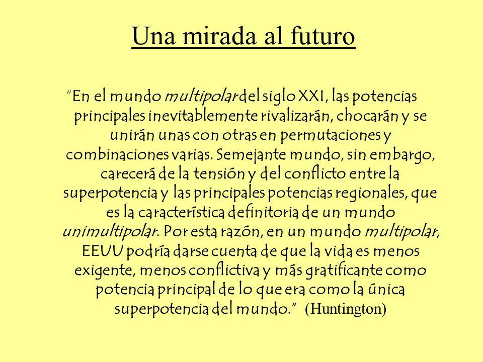 Una mirada al futuro En el mundo multipolar del siglo XXI, las potencias principales inevitablemente rivalizarán, chocarán y se unirán unas con otras en permutaciones y combinaciones varias.