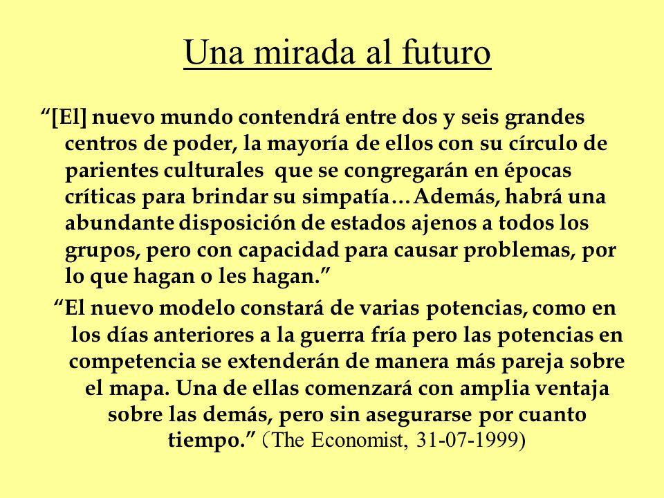 Una mirada al futuro [El] nuevo mundo contendrá entre dos y seis grandes centros de poder, la mayoría de ellos con su círculo de parientes culturales
