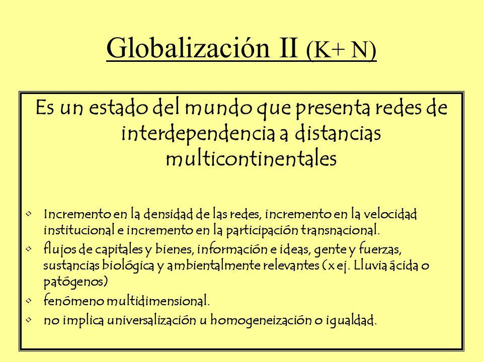 Globalización II (K+ N) Es un estado del mundo que presenta redes de interdependencia a distancias multicontinentales Incremento en la densidad de las redes, incremento en la velocidad institucional e incremento en la participación transnacional.