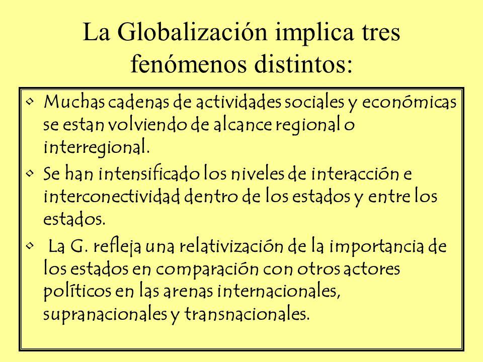 La Globalización implica tres fenómenos distintos: Muchas cadenas de actividades sociales y económicas se estan volviendo de alcance regional o interr
