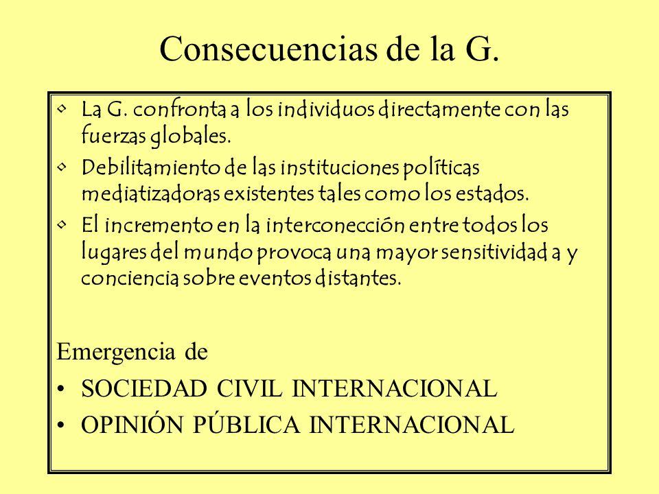Consecuencias de la G. La G. confronta a los individuos directamente con las fuerzas globales. Debilitamiento de las instituciones políticas mediatiza