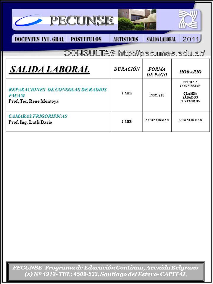 PECUNSE- Programa de Educación Continua, Avenida Belgrano (s) Nº 1912 - TEL: 4509-533. Santiago del Estero- CAPITAL SALIDA LABORAL SALIDA LABORALDURAC