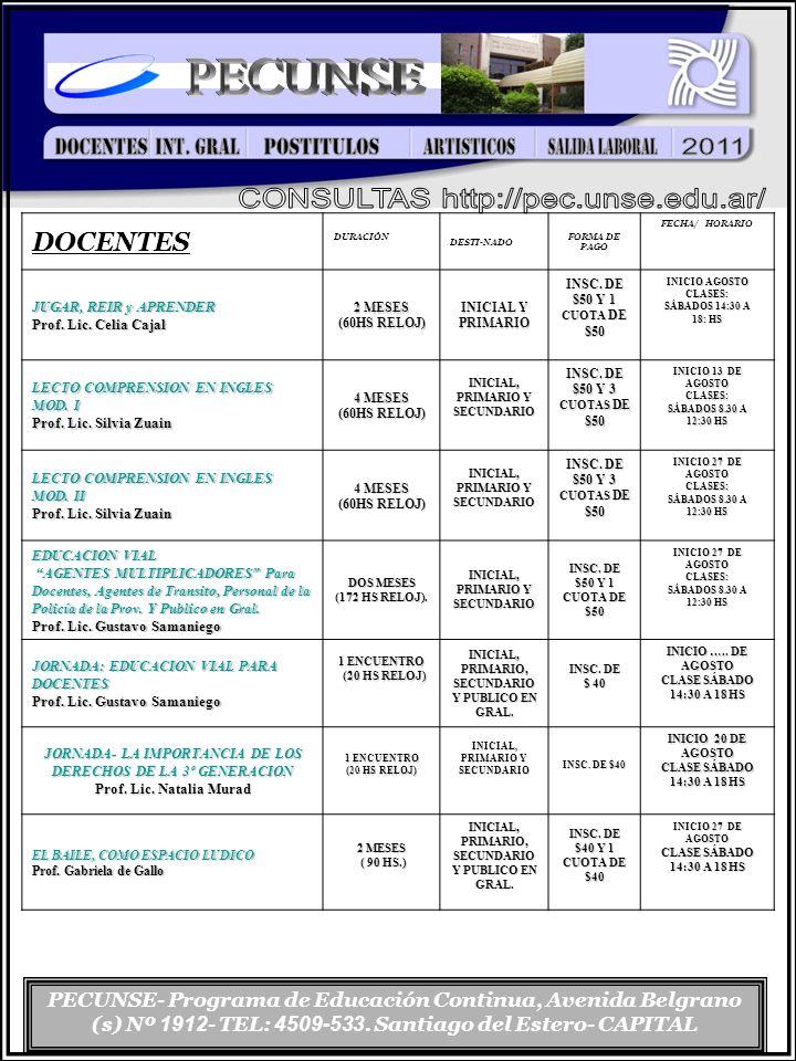 PECUNSE- Programa de Educación Continua, Avenida Belgrano (s) Nº 1912 - TEL: 4509-533. Santiago del Estero- CAPITAL DOCENTES DURACIÓN DESTI-NADO FORMA
