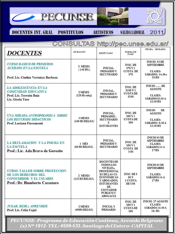 PECUNSE- Programa de Educación Continua, Avenida Belgrano (s) Nº 1912 - TEL: 4509-533.