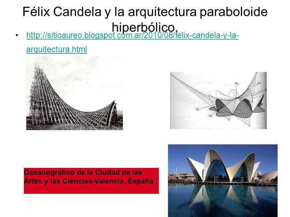 Félix Candela y la arquitectura paraboloide hiperbólico. http://sitioaureo.blogspot.com.ar/2010/08/felix-candela-y-la- arquitectura.htmlhttp://sitioau